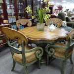 Painted Scalped Table & 4 Chairs