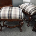 Two Upholstered Foot Stools
