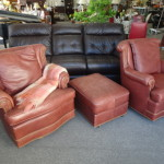 2 Leather Chairs & Ottoman