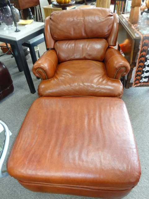 Hancock & Moore Leather Chair * Ottoman