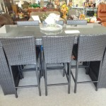 Wicker Bar W/6 Stools